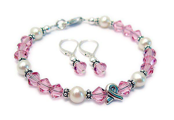 Swarovski Pearl Awareness Bracelet - In Memory, Courage, Hope or Survivior - JBL-R48