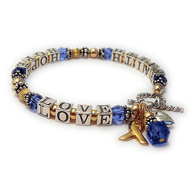 Gold Faith Hope Love Ribbon Bracelet