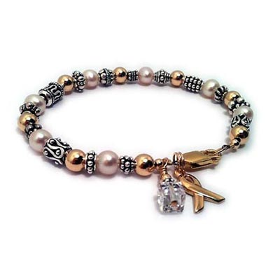 Courage Sterling Silver Survivor Bracelet with pearls, bali beads, crystal dangle and a ribbon charm - ribbon42gold