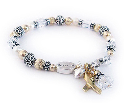 JBL-R26 - LUNG Cancer Ribbon Bracelet  This bracelet is shown with a white crystal dangle for Lung Cancer and an add-on Survivor bead and Puffed Heart Charm. The charms that are included in the price are the ribbon and crystal dangle.