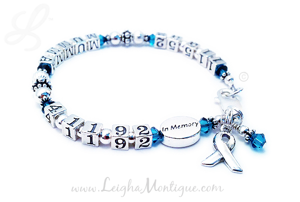 Lifetime Awareness Bracelet with birth and death dates - you may also include a name. Includes ribbon charm - JBL-Ribbon-Lifetime