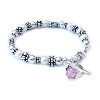 Sterling Silver Survivor Bracelet with pearls, bali beads, crystal dangle and a ribbon charm - ribbon42sterling
