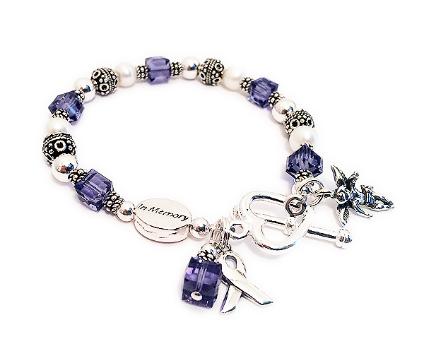 JBL-Ribbon25  Shown with an IN MEMORY bead - ALL charms shown are optional and they upgraded to a Heart Toggle Clasp. A free lobster or toggle is included in the price.