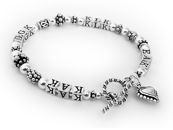 Monogram Bracelet - all sterling silver with a Beaded Heart Charm - JBL-S7