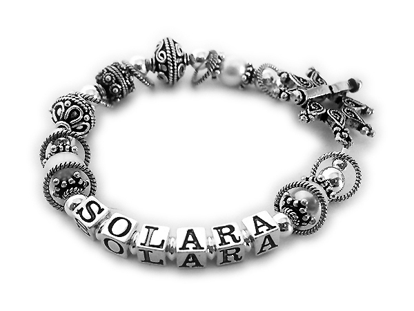 Solara bracelet with large Bali beads and a beautiful star toggle clasp - JBL-S3
