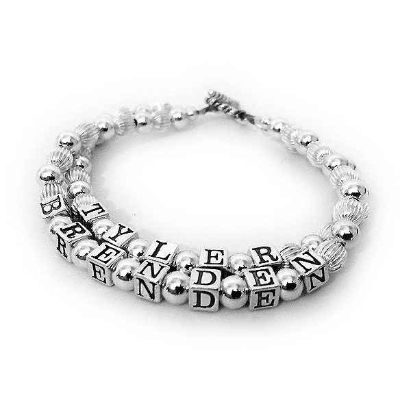 TYLER and BRENDEN 2-string sterling silver name bracelet shown with one of my free Twisted toggle clasps.